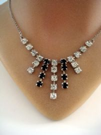 Art Deco Style Diamante Necklace in Black and White (SOLD)